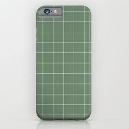 Windowpane Check Grid (white/sage green) iPhone Case