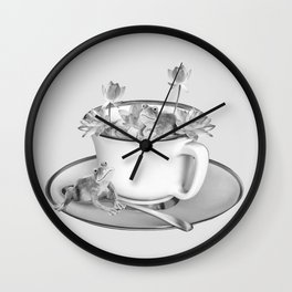 Coffee Cup Two Frogs Lotos Flower Wall Clock