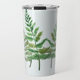 Fern Collage with Light Blue Gray Background Travel Mug