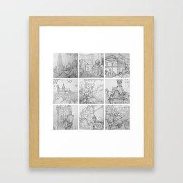 Prague sketches, part one by David A Sutton. sketchbookexplorer.com Framed Art Print