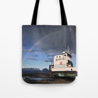 homer Tote Bags featuring Homer, Alaska by Chris Rod