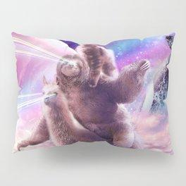 Laser Eyes Space Cat On Sloth Llama - Rainbow Pillow Sham