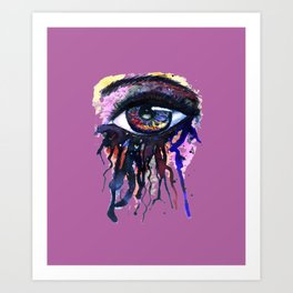 Rainbow eye splashing Art Print