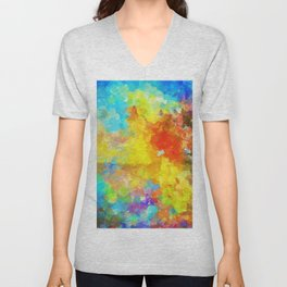 Abstract Painting with Vivid Colours Unisex V-Neck