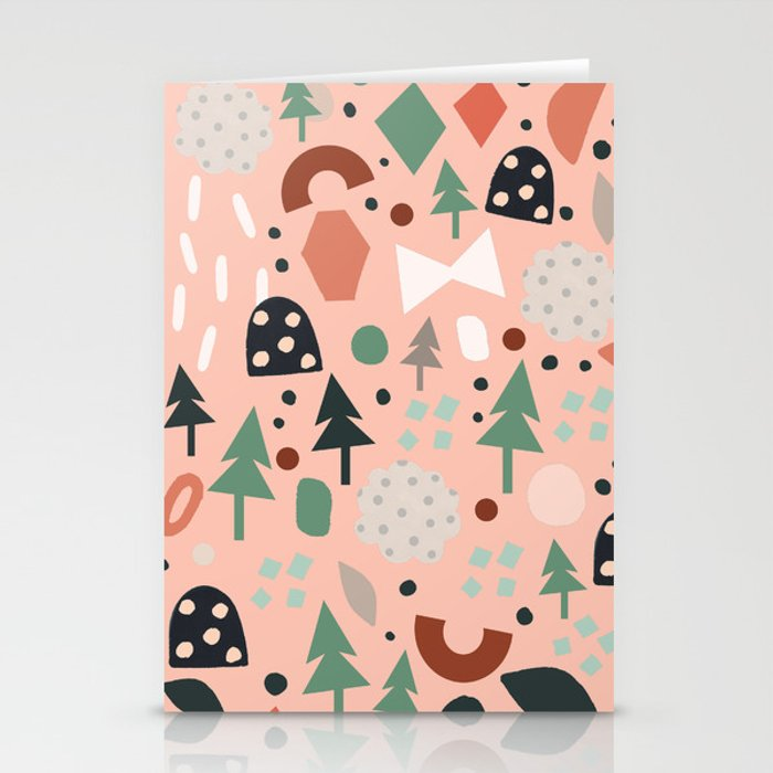 Holiday Forest Pink Stationery Cards