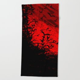 Red Birds, Red Night Beach Towel