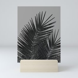 Gray Black Palm Leaves with Black Silver Glitter #1 #tropical #decor #art #society6 Mini Art Print