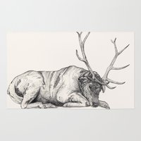 stag Area & Throw Rugs featuring Stag // Graphite by Sandra Dieckmann