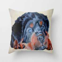 Rottweiler Puppy Portrait Throw Pillow