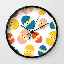 Multi Coloured Easter Eggs with Chicks - Yellow Orange Turquoise Pink Wall Clock