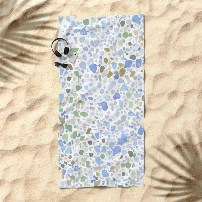 Magic Terrazzo Blue Beach Towel