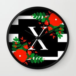 X - Monogram Black and White with Red Flowers Wall Clock