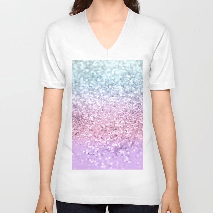 Unicorn Girls Glitter #4 #shiny #pastel #decor #art #society6 Unisex V-Neck