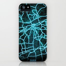 Hamm, Germany, Blue, White, Neon, Glow, City, Map iPhone Case