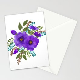Purple Aquarelle Roses Bouquet Stationery Cards