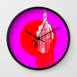 Architecture building red pink Wall Clock