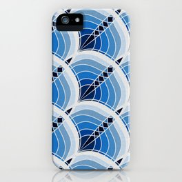 Silver Foil Art Deco Slanted Wave Cyan and Teal Linen iPhone Case