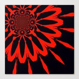 The Modern Flower Black & Red Canvas Print