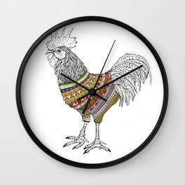 Rooster Knit Wall Clock
