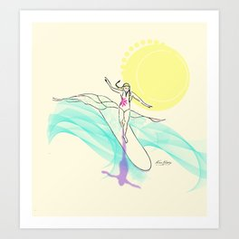 Sunsrise Wave Surfer Gal Art Print
