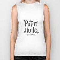 putin Biker Tanks featuring PUTIN HUILO by NOT VERY ART