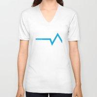 ski V-neck T-shirts featuring Ski Hoth by FloresArts