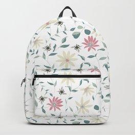 Floral Bee Print Backpack