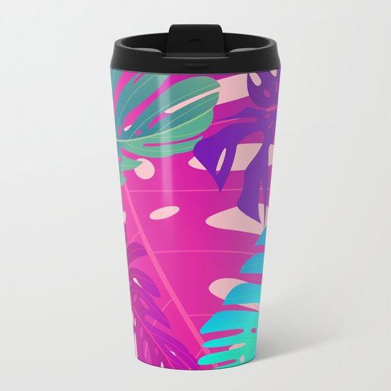 Colorful monstera leaves 1 Metal Travel Mug