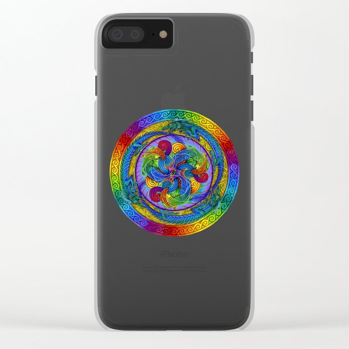Epiphany Dragon Fish Psychedelic Mandala Clear iPhone Case