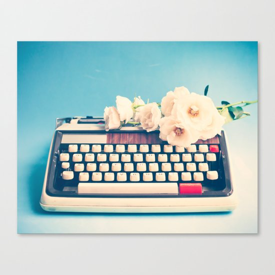 White Typewriter on Blue Canvas Print