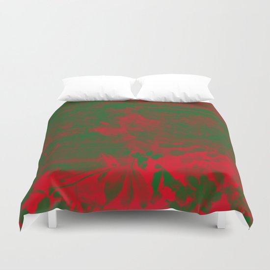 Leaves in fire red green fantasy Duvet Cover
