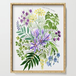 Watercolor culinary herbs Serving Tray
