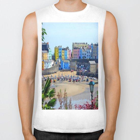 Tenby Harbour.Colour.Reflection. Biker Tank