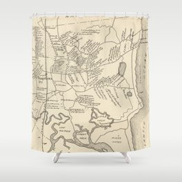 Vintage Map of Hampton Beach NH (1892) Shower Curtain