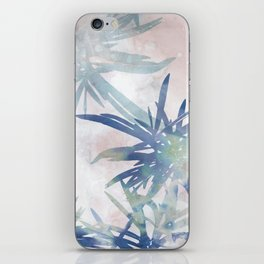Navy Blue and Blush Pink Palm Leaf Watercolor Painting iPhone Skin