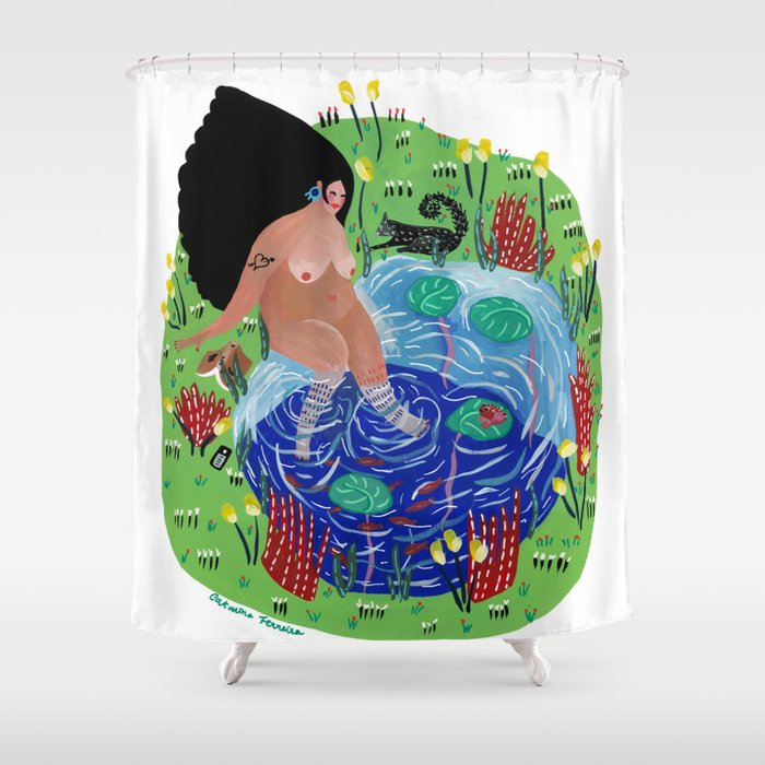 Little lake of happiness Shower Curtain