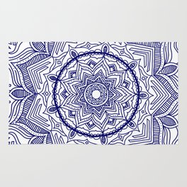 Blue Flower Mandala Rug