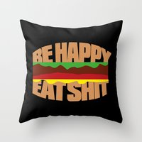 hamburger Throw Pillows featuring Hamburger by WAMTEES