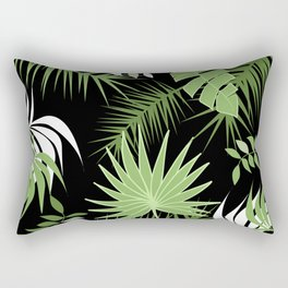 Black and White Green palm tree banana leaves summer tropical leaf print  Rectangular Pillow