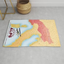 Illustrated map of the Alps Rug