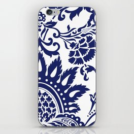 damask blue and white iPhone Skin