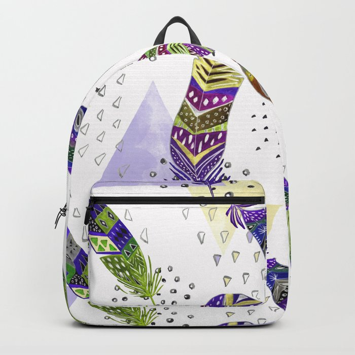 Abstract pattern with feathers 1. Backpack