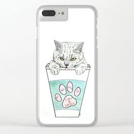 Cats & coffee Clear iPhone Case