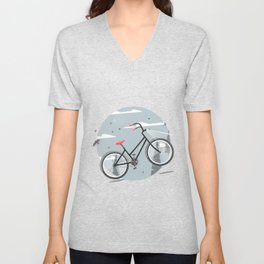 Bycicle illustration. Cartoon style. Unisex V-Neck