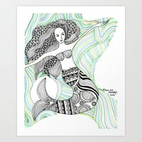 mermaids Art Prints featuring Mermaids by winnie patterson