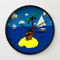 low poly Wall Clocks featuring Low-Poly Treasure Island by Jorge Antunes