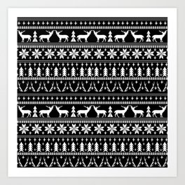 Deer christmas fair isle camping pattern snowflakes minimal winter seasonal holiday gifts Art Print