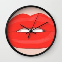 lips Wall Clocks featuring Lips by uzualsunday