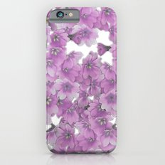 Pink Flowers on White Slim Case iPhone 6s