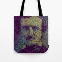 edgar allan poe Tote Bags featuring Edgar Allan Poe. by Robotic Ewe